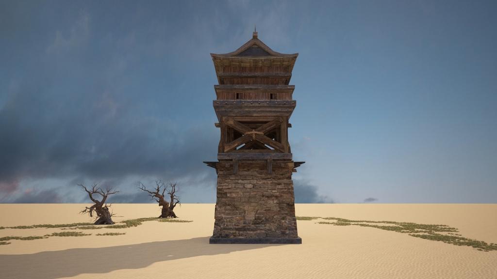 中国古建筑了望塔站岗塔3d模型