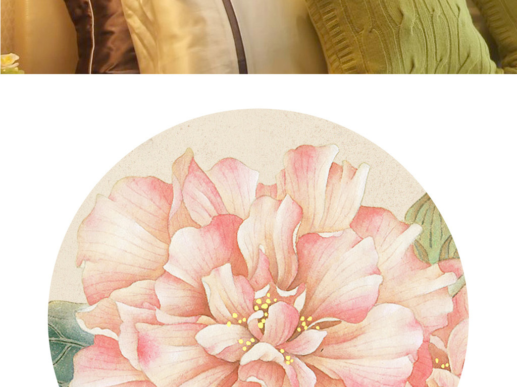 工笔花鸟装饰画手绘芙蓉花新中式无框画