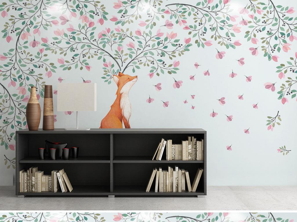 水彩花卉森系小清新欧式装饰画背景墙