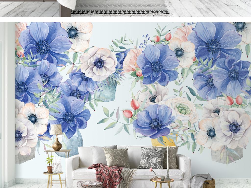 小清新文艺手绘水彩花朵背景壁纸壁画