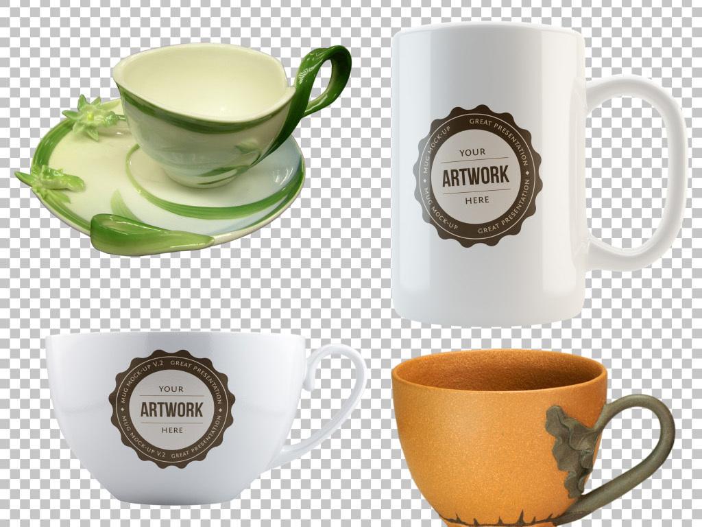 日用陶瓷茶杯素材咖啡杯免扣设计元素