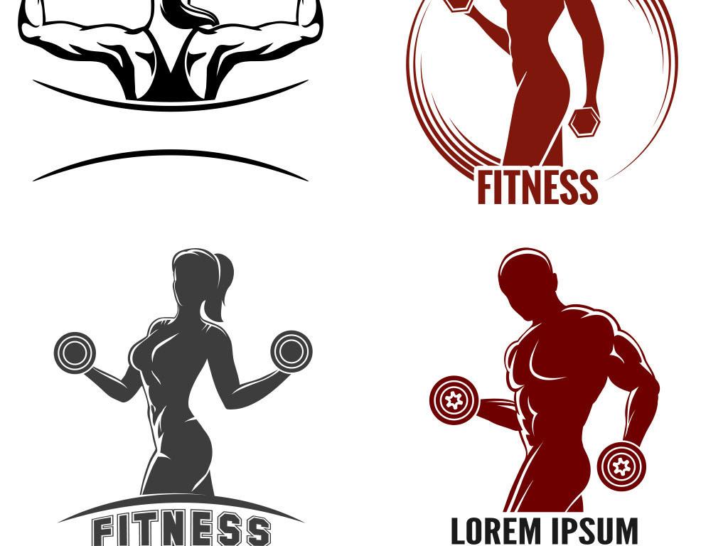哑铃免勾健身体育体育运动人物剪影手绘矢量图免抠图共享素材海报