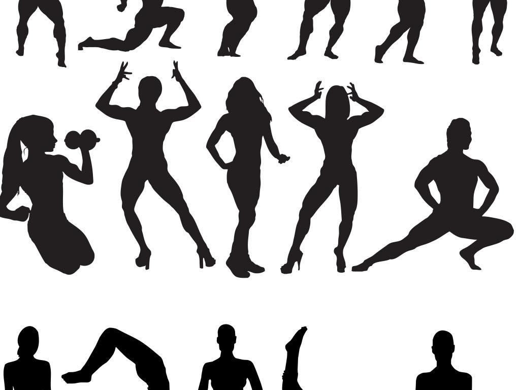 哑铃免勾健身体育体育运动人物剪影手绘矢量图免抠图共享素材