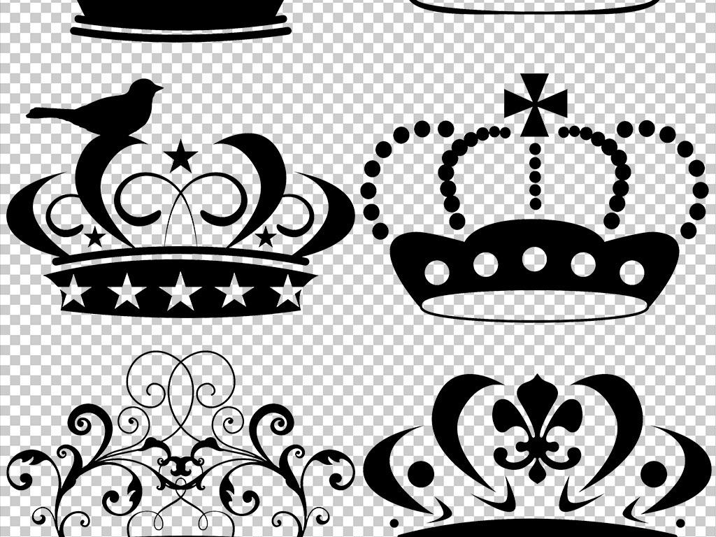 黑色皇冠王冠卡通皇冠手绘皇冠素材