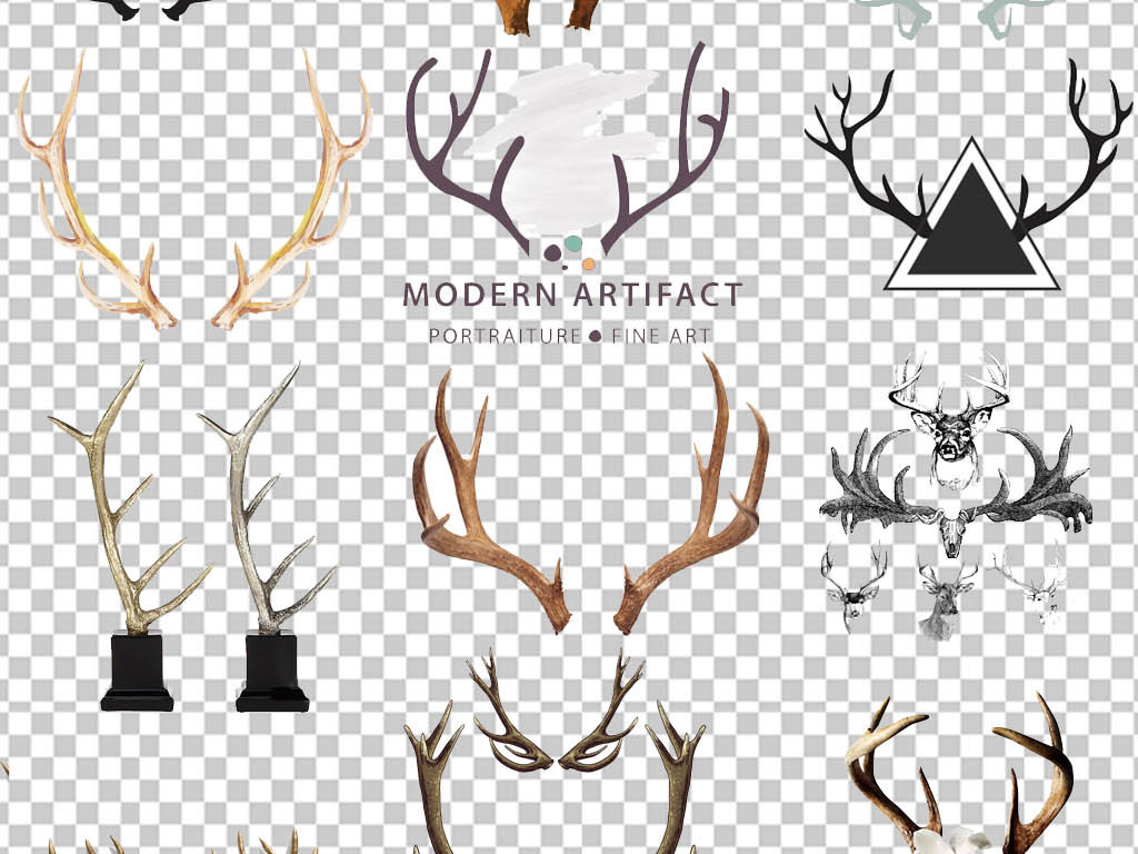 圣诞鹿手绘插画唯美鹿手绘创意麋鹿头鹿角