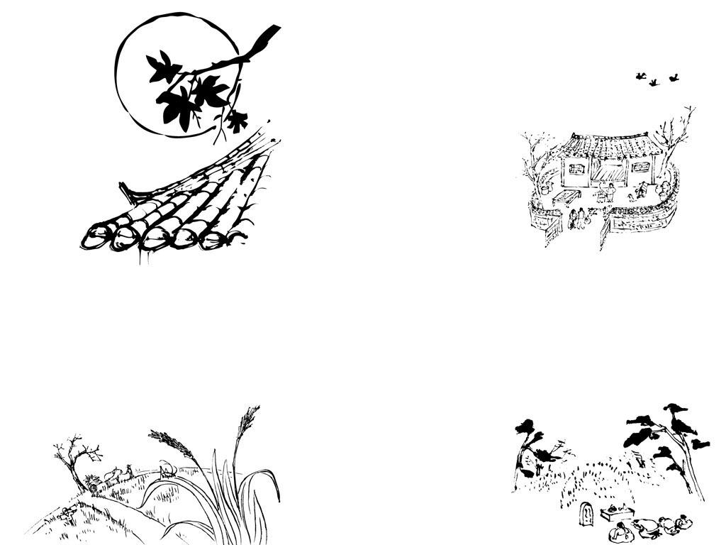 手绘水默黑白单色乡村风景物件ai矢量图