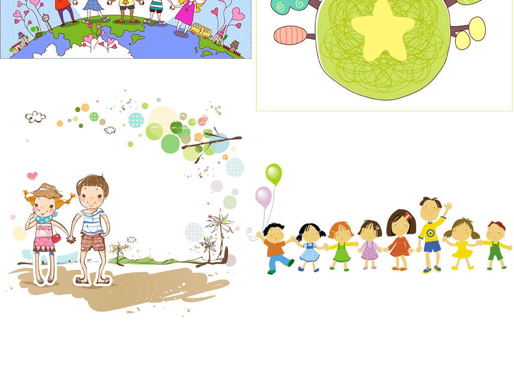 水彩手绘儿童宝宝卡通漫画幼儿园小学校小孩子手拉手ai矢量图