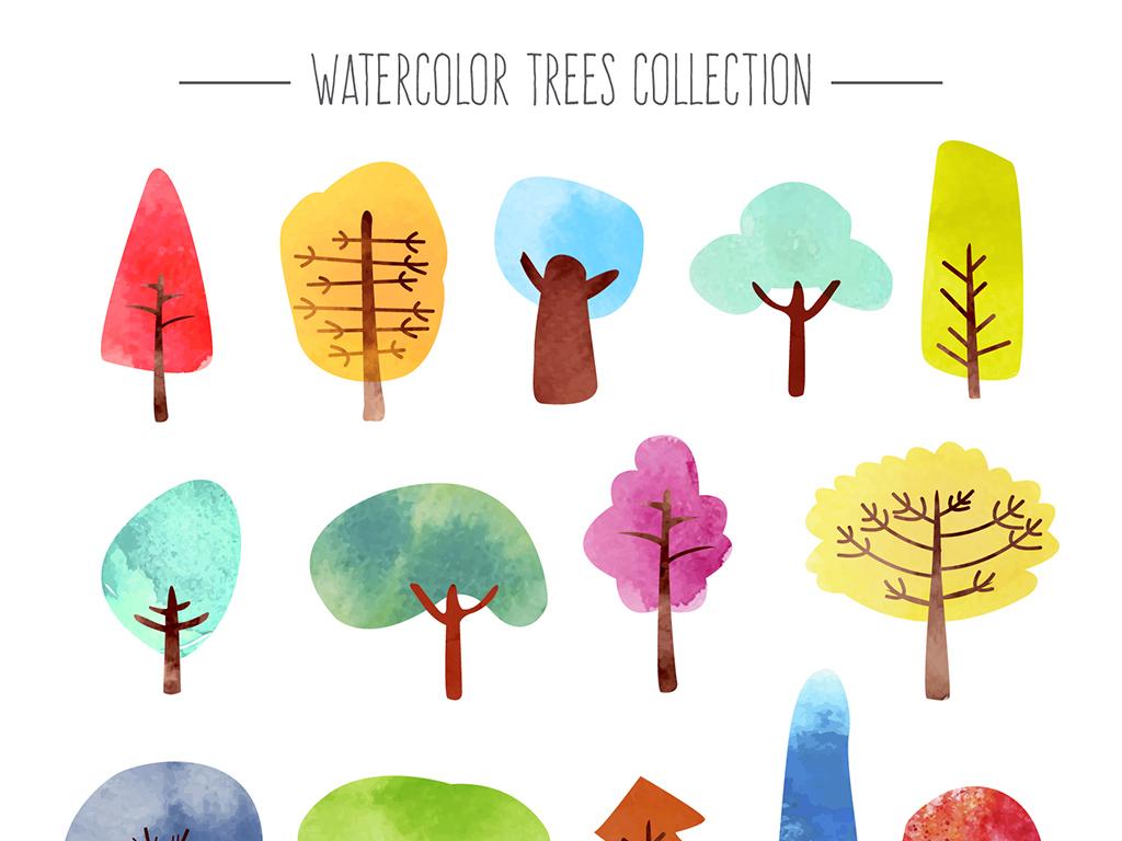 水彩手绘插画花草树木树木剪影水彩画家矢量树木中国水彩水彩墨迹水彩
