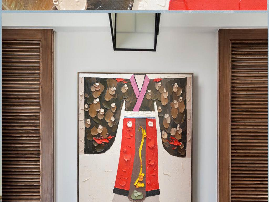 中式古典汉服纯手绘装饰艺术油画图片