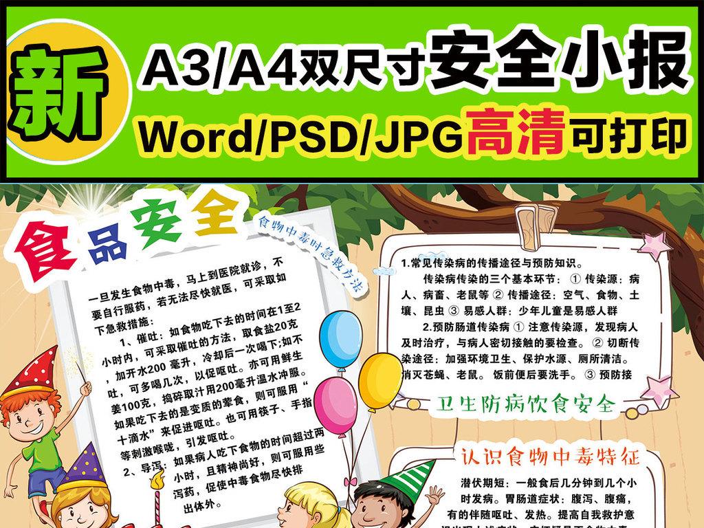 word简单食品安全小报内容资料安全小报图片素材 word doc模板下载