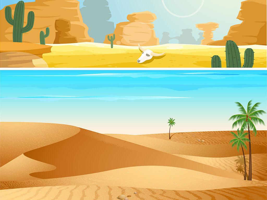 手绘沙漠风光素材背景