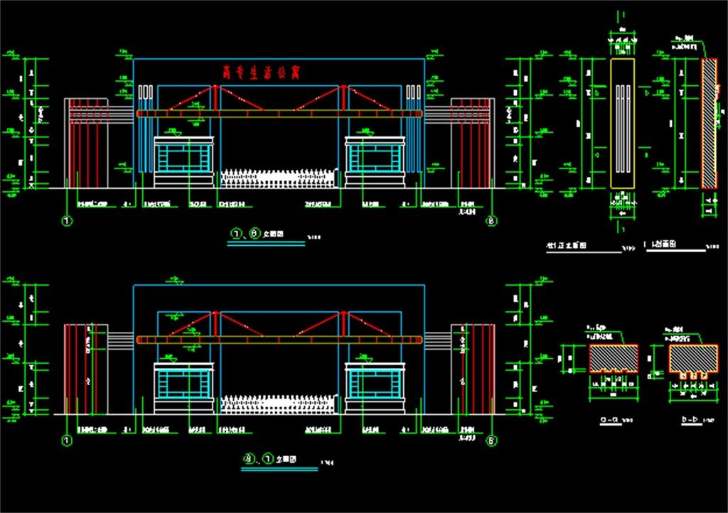 学校大门cad施工图平面设计图下载(图片0.25mb)_别墅