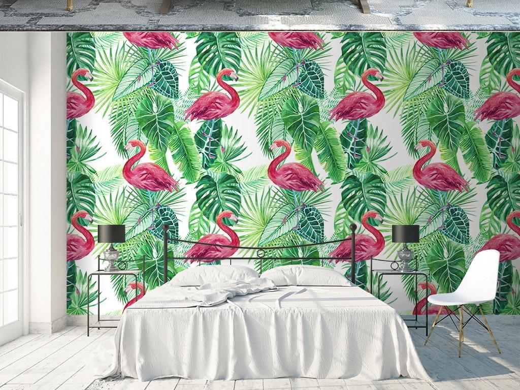 手绘水彩火烈鸟热带棕榈叶壁纸墙纸墙贴67