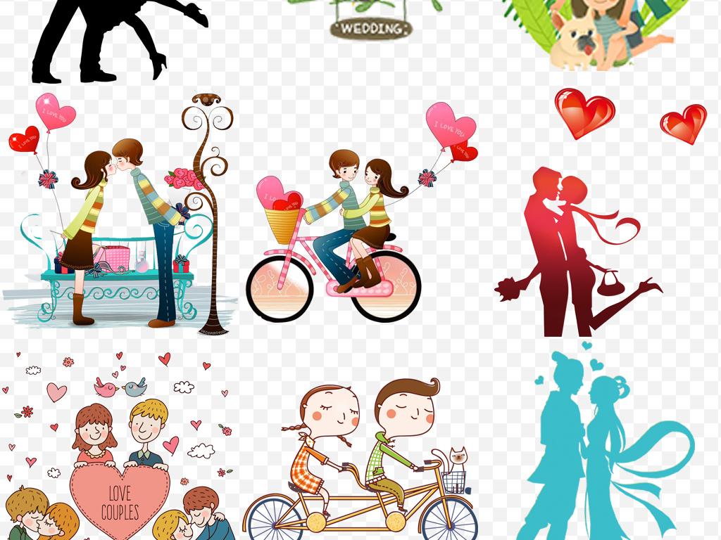 手绘卡通情侣结婚恋人情人源文件设计素材