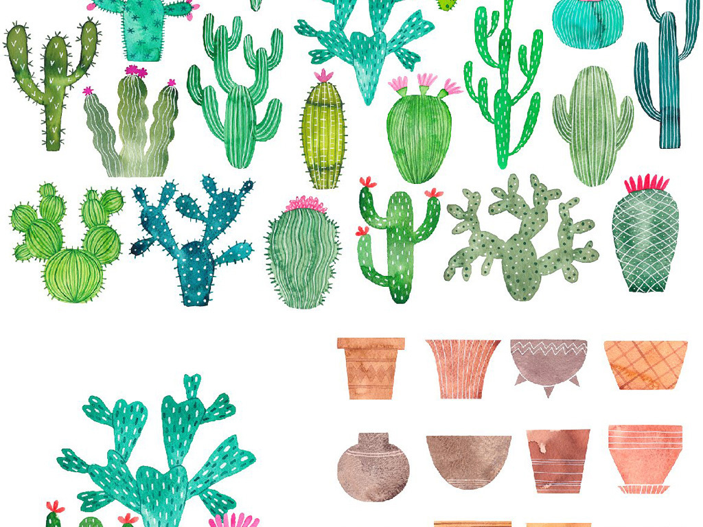 高清北欧风手绘水彩插画仙人掌植物png
