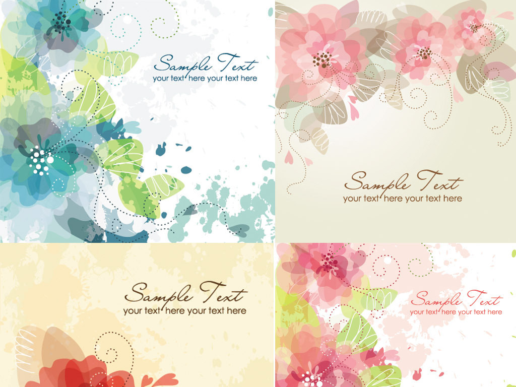 唯美水彩手绘花朵水牌展板海报名片卡片背景花纹ai矢量图设计素材