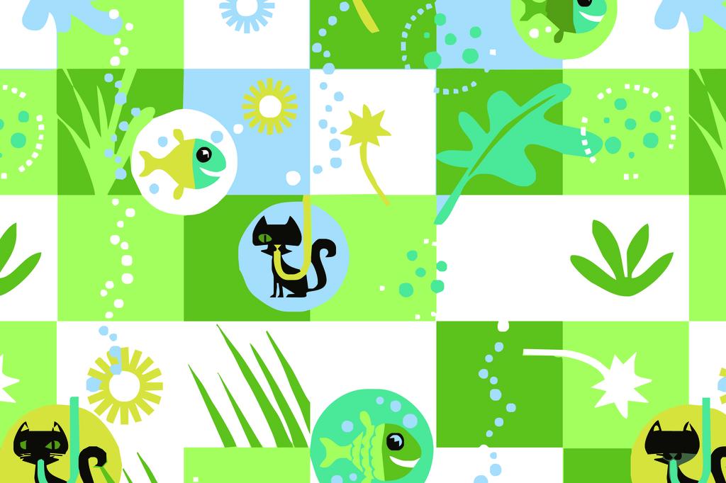 小清新印花小动物图案几何格纹花卉印花