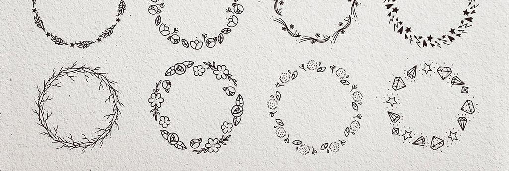 黑白线描动物花圈png图案