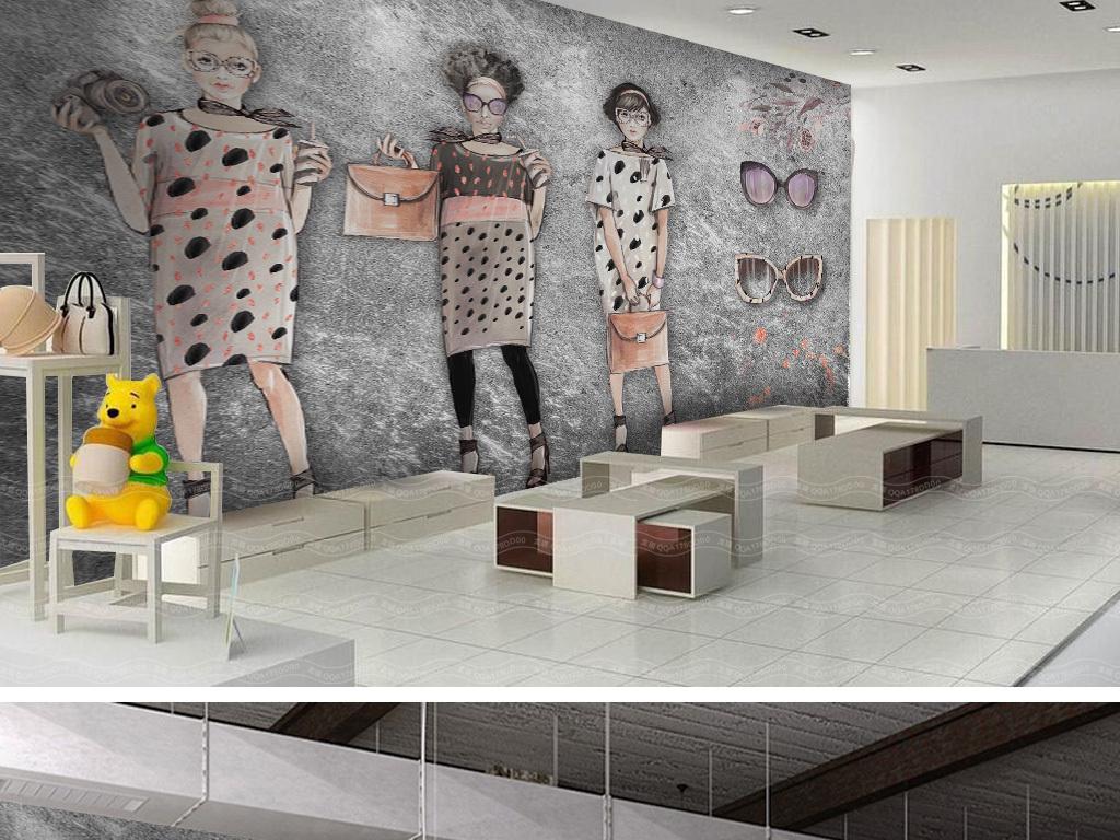 复古手绘美女服装店工装背景墙