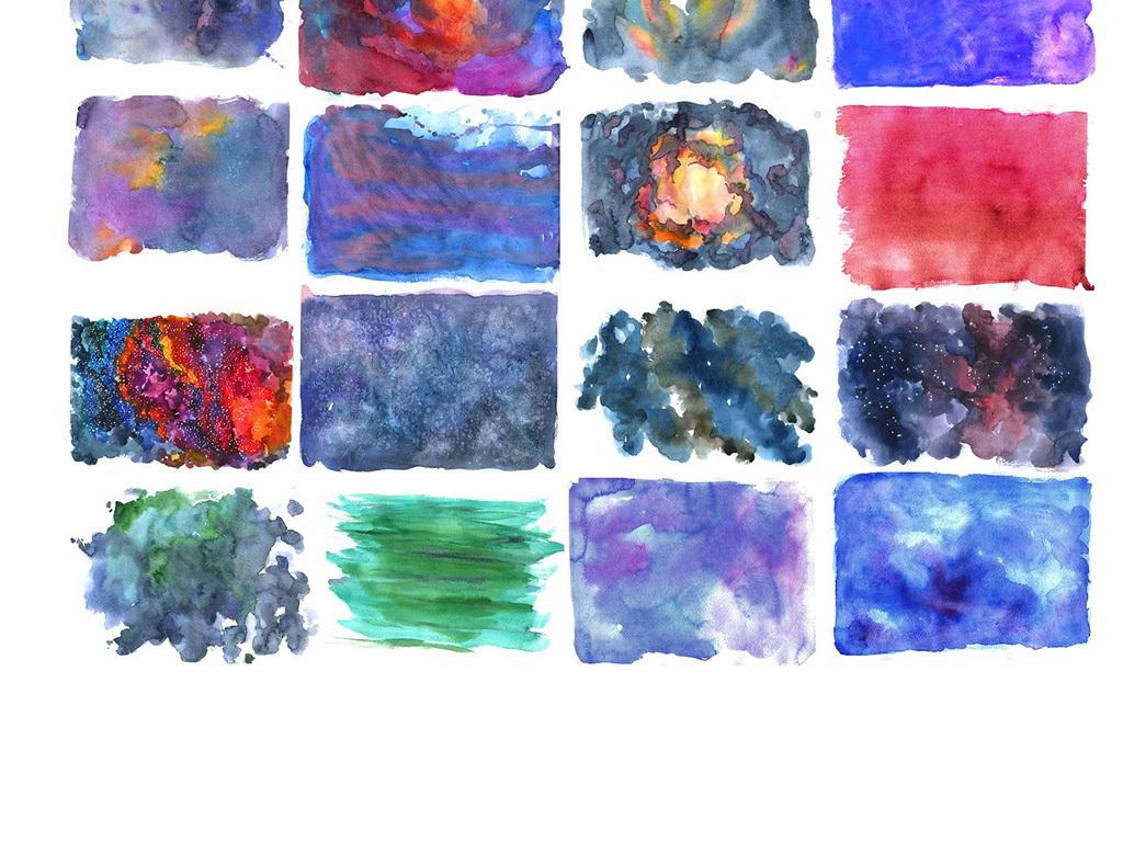 高清手绘水彩星空色图片素材