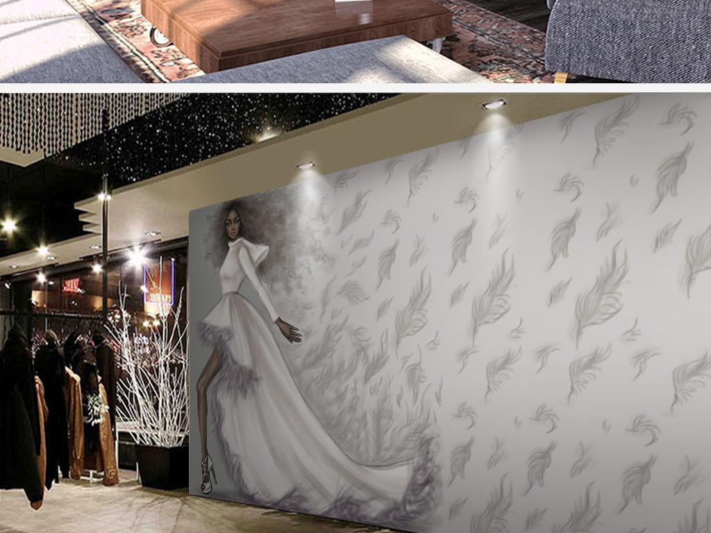 复古手绘美女服装店工装背景墙壁画
