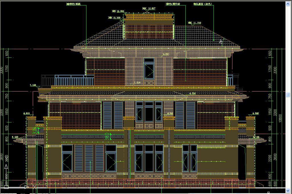 外观设计图别墅cad大理石中式别墅大理豪华中式别墅别墅大理石豪华图片