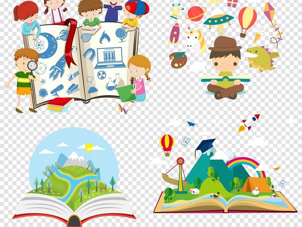 卡通书本儿童阅读学习png素材