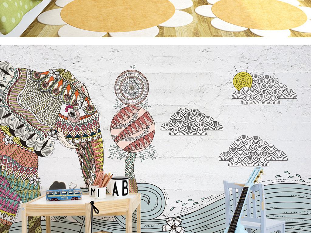 手绘插画大象风景背景墙儿童房壁纸壁画