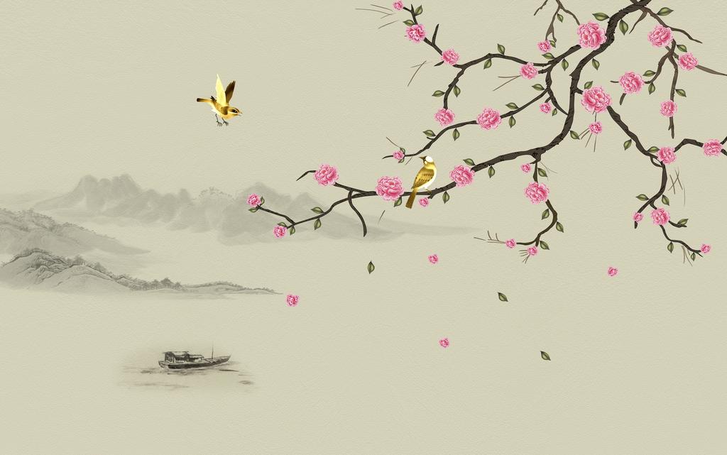 手绘新中式梅花工笔画花鸟软包背景墙装饰画