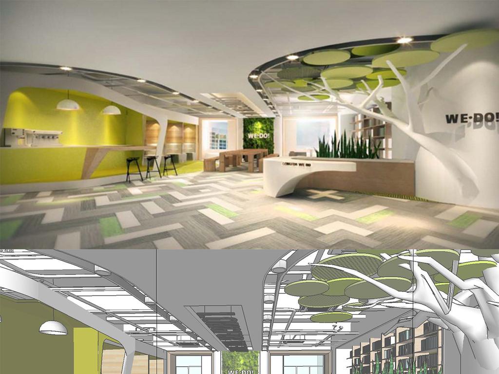创意现代办公空间设计su模型图片