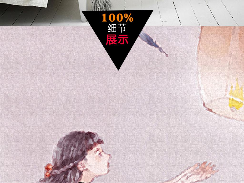 现代日式手绘小女孩意境风景客厅装饰画