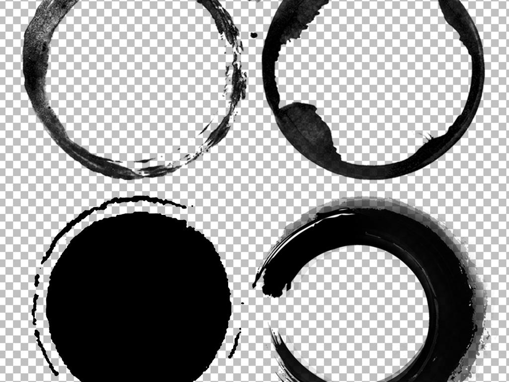 水墨中国风圆环圆形边框圆圈图片素材