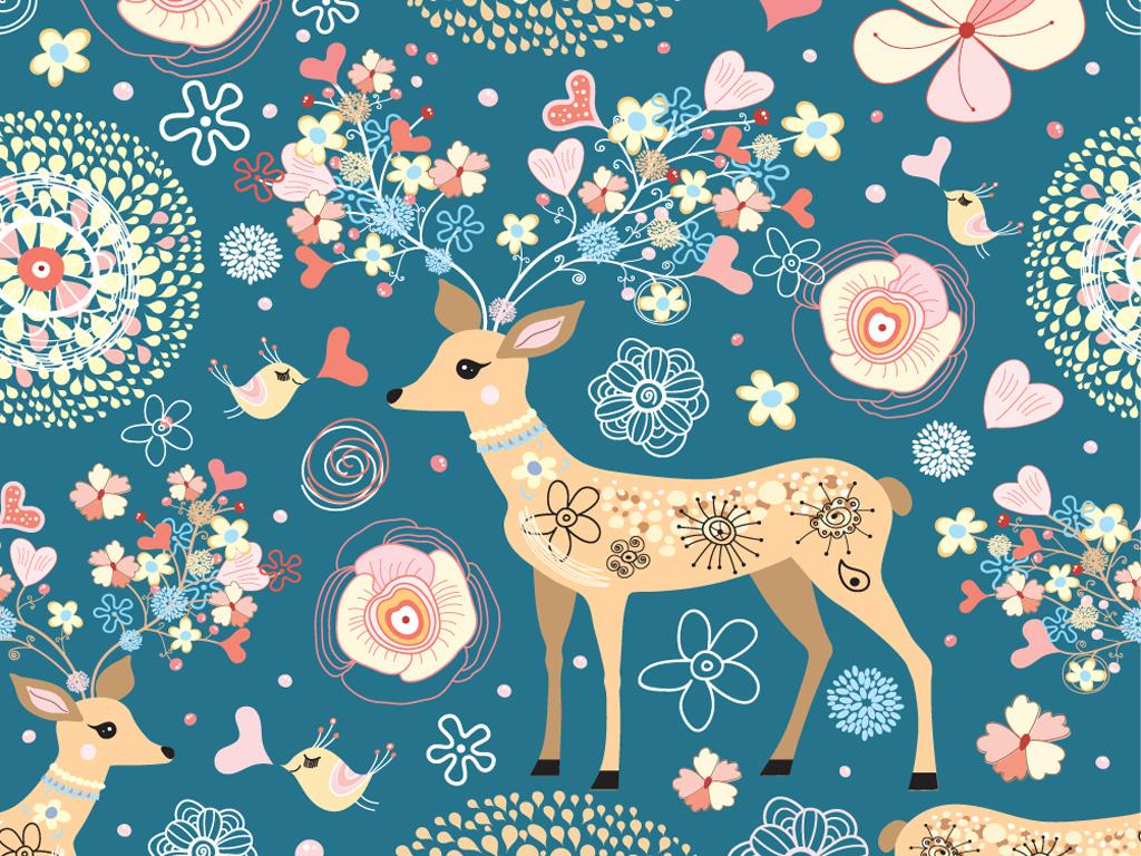 产品图案设计 家纺家饰图案 动物图案 > 梅花鹿彩色花纹布艺家纺壁纸