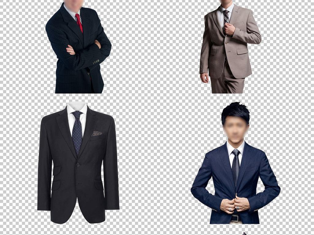 黑西装半身绅士西服男生头像瘦小