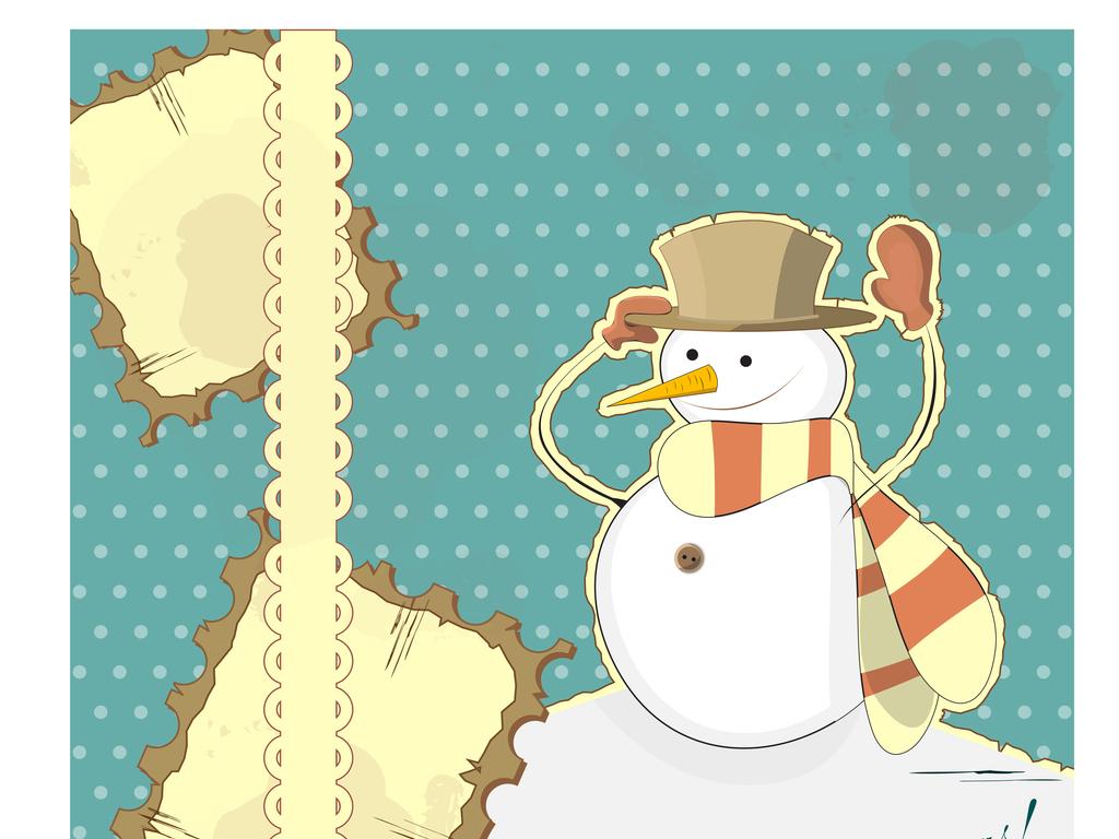 免扣元素 花纹边框 卡通手绘边框 > 唯美卡通雪人封面矢量设计
