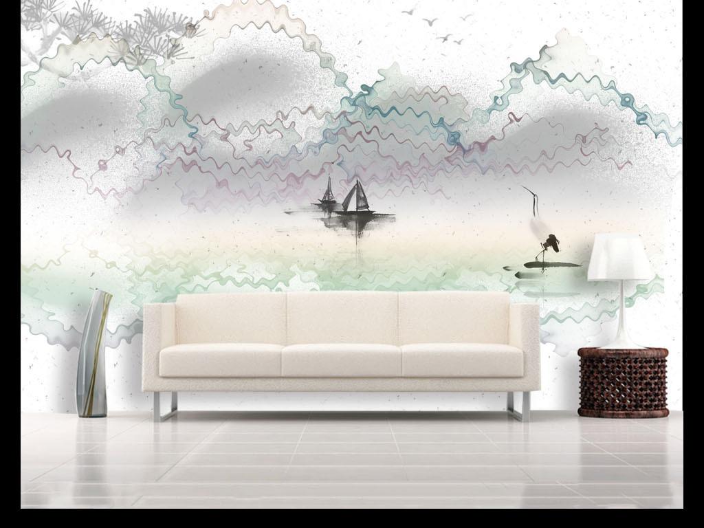 花砖 现代简约花砖 抽象几何 > 新中式水墨山水电视沙发背景墙  版权图片