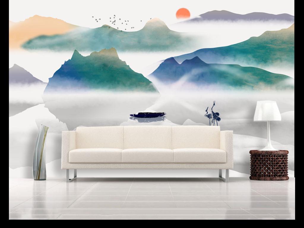 新中式水墨山水电视沙发背景墙图片