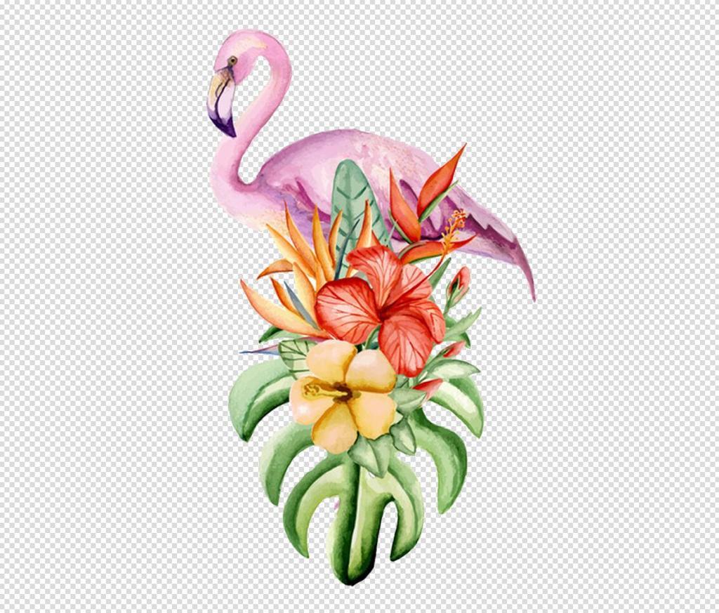 唯美免扣手绘花朵火烈鸟背景墙素材png图片设计_高清