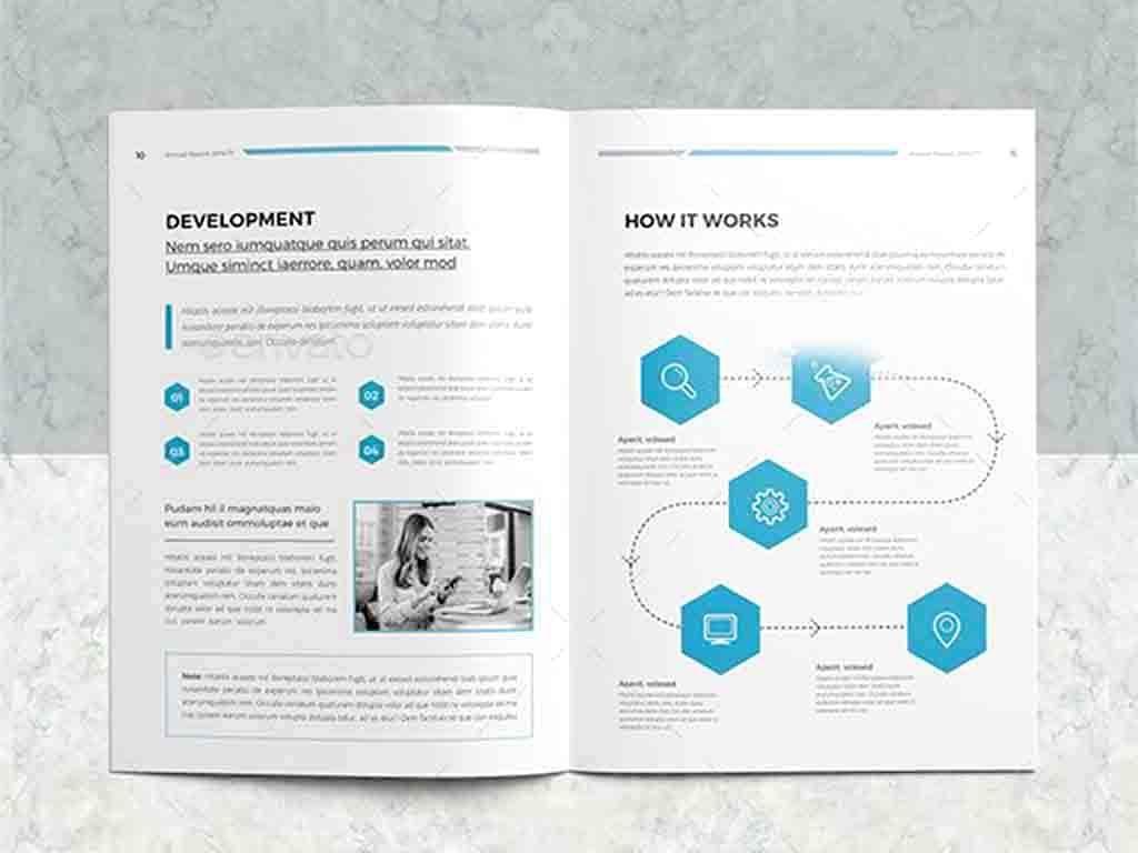 現代企業年度報告indesign排版模板圖片