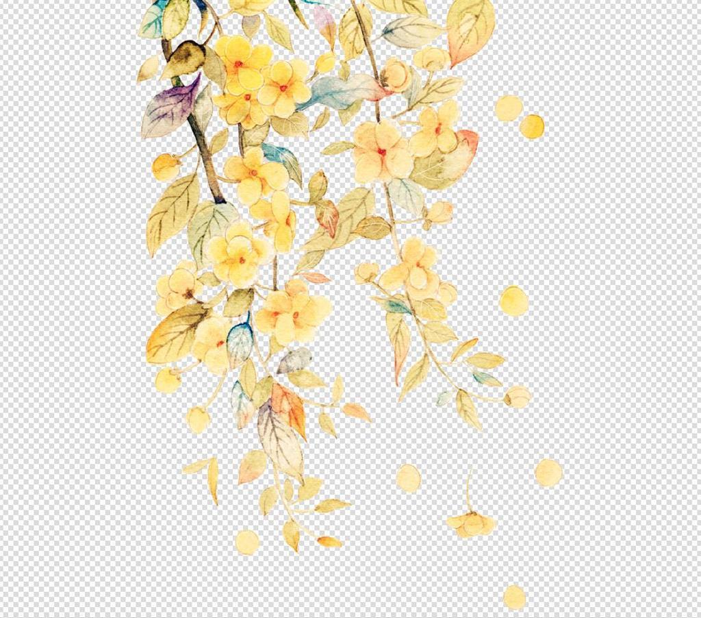 唯美免扣手绘枫叶叶子树叶背景墙素材.