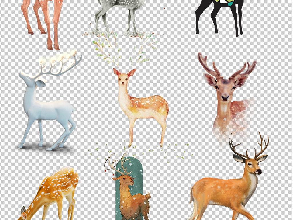 动物元素动物png卡通动物手绘卡通小鹿驯鹿