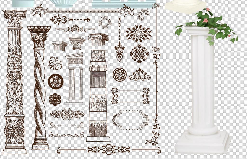 欧式罗马柱建筑柱子装饰png素材图片