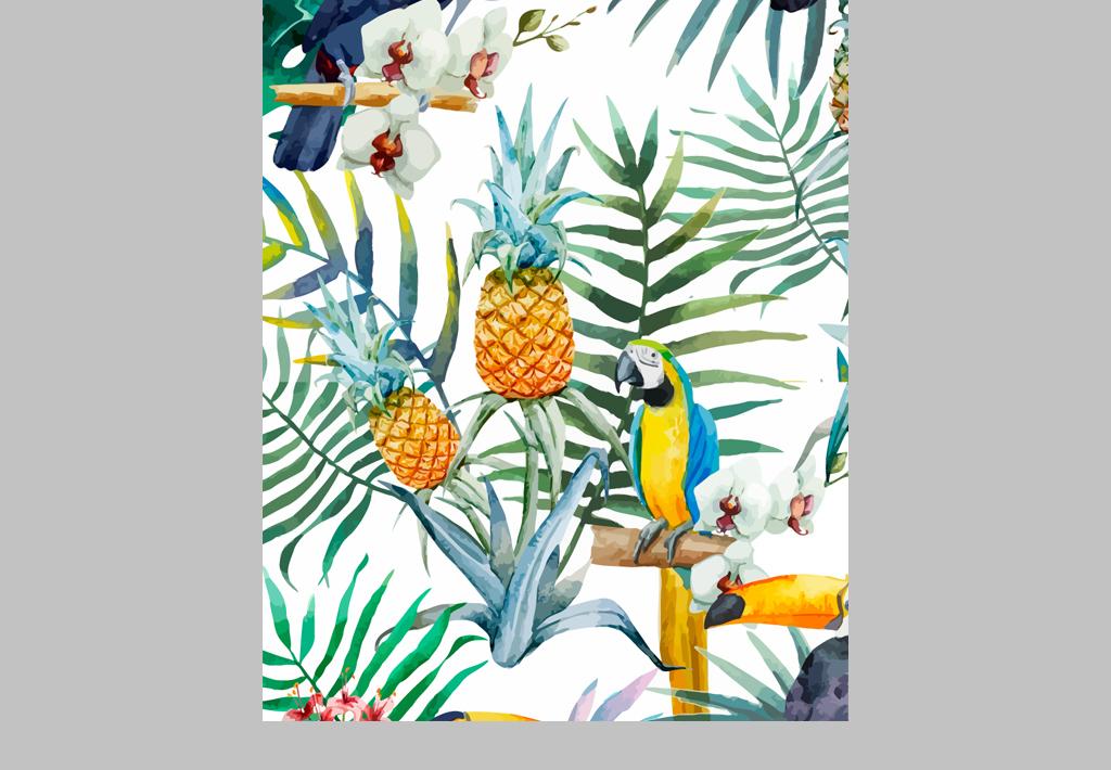 产品图案设计 数码/配件图案 动物图案 > 手绘水彩热带风情鹦鹉植物