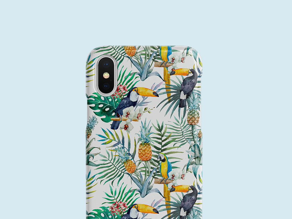 ins风格水彩热带风情鹦鹉植物手机壳设计