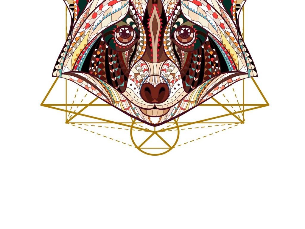 几何脸谱可爱动物脸谱抽象简约大器装饰画