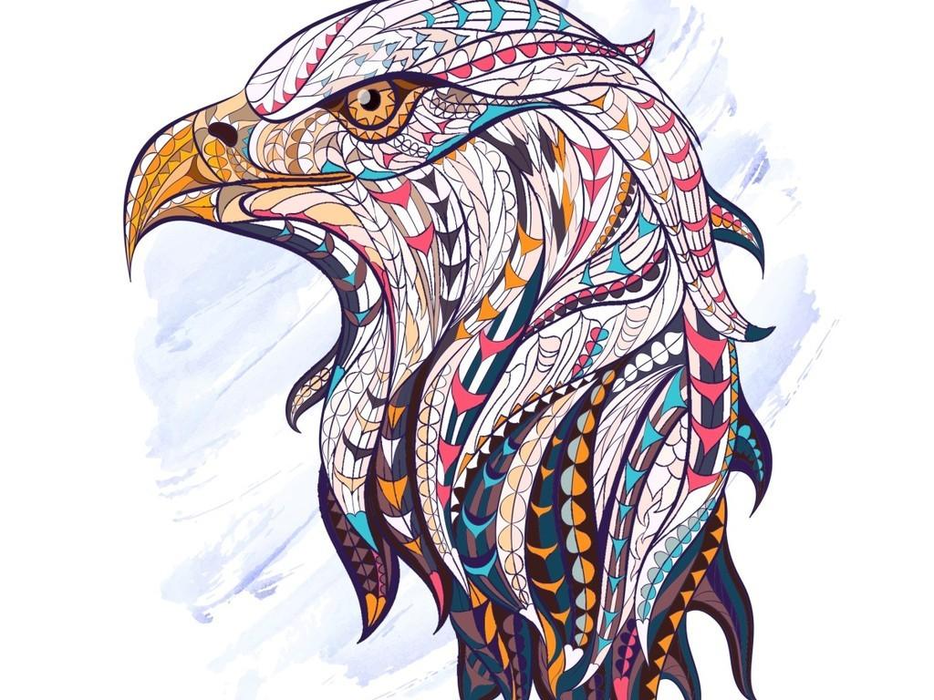 几何脸谱动物抽象卡通手绘书房装饰画