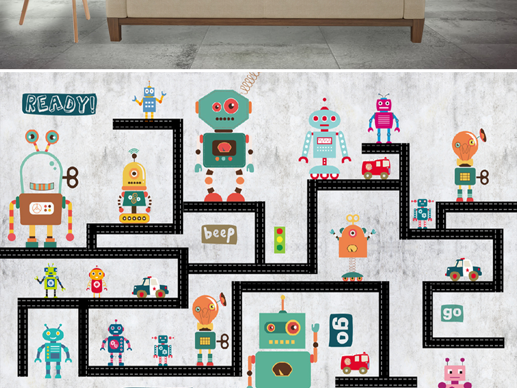 手绘机器人儿童房背景墙图片设计素材_高清psd模板(.