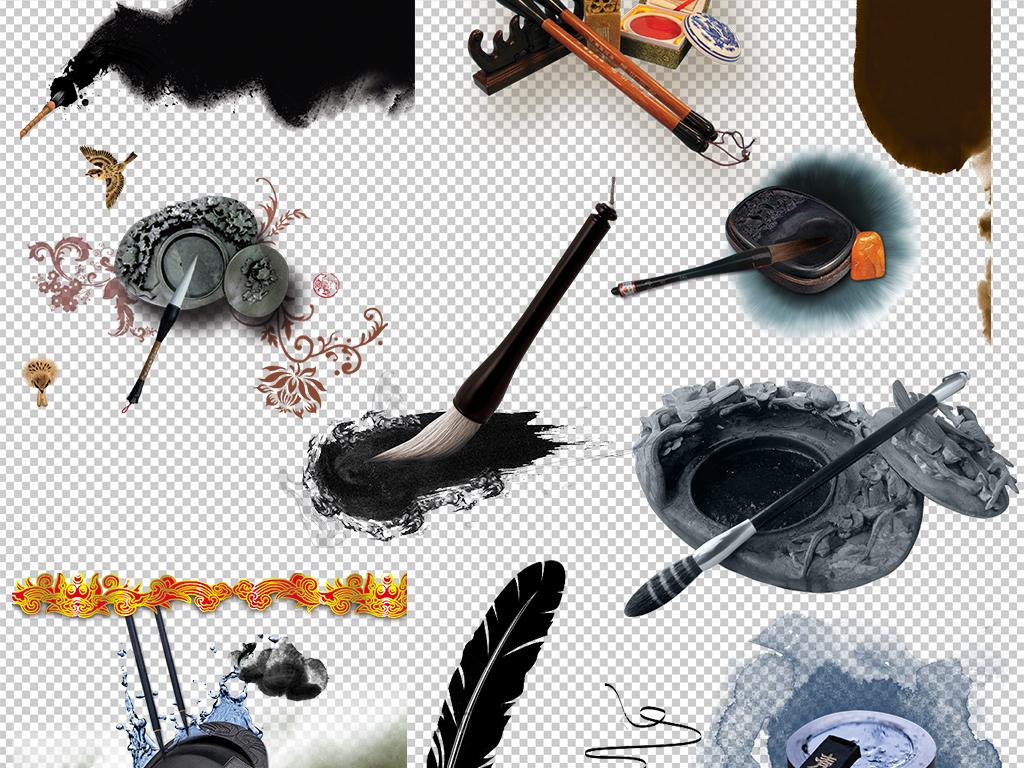 毛笔画孔雀羽毛笔刷古典羽毛笔羽毛笔花纹卡通手绘羽毛笔