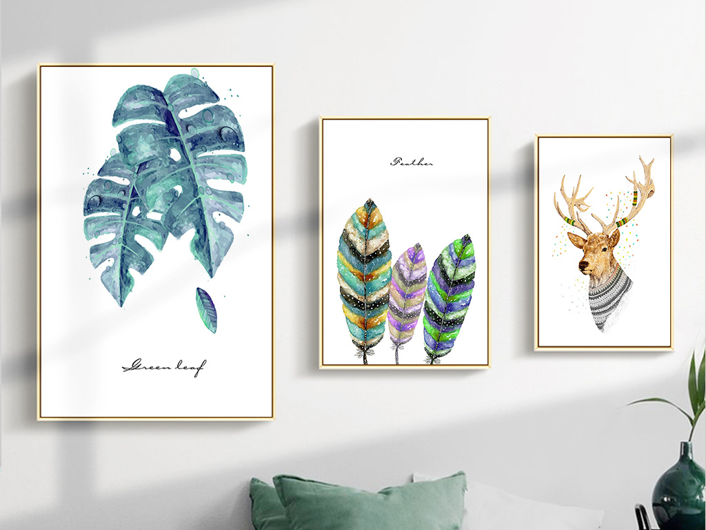 北欧清新手绘卡通动物植物装饰画麋鹿组合画
