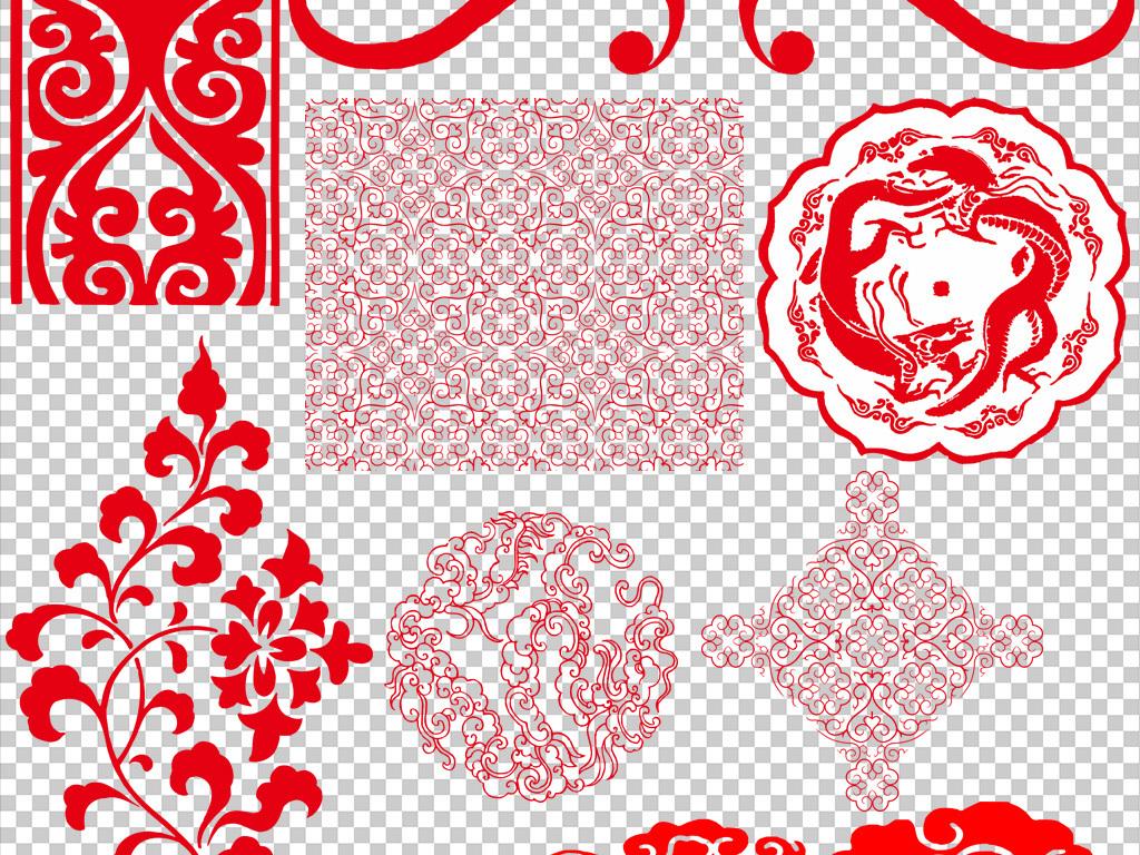 红色边框角边花圆形矩形新中式花纹背景中式花边中式图案角花中式窗花